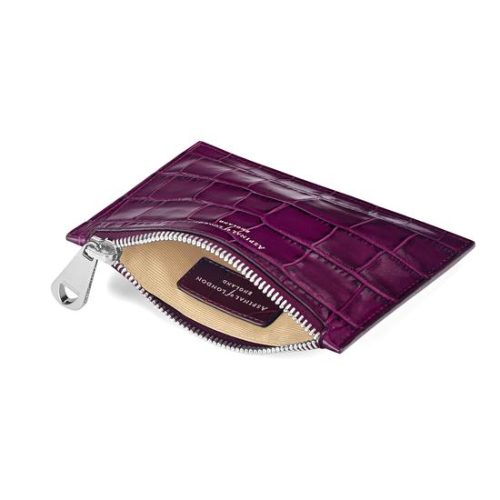 Small Essential Flat Pouch in Purple Croc from Aspinal of London
