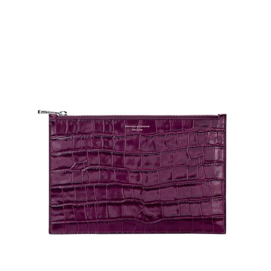 Large Essential Flat Pouch in Purple Croc from Aspinal of London