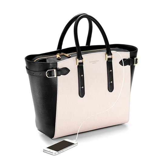 Large Marylebone Tech Tote in Monochrome Saffiano from Aspinal of London