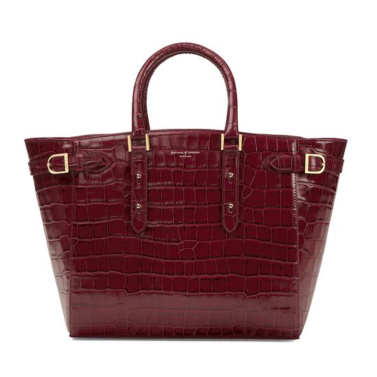 Large Marylebone Tech Tote in Deep Shine Bordeaux Croc from Aspinal of London