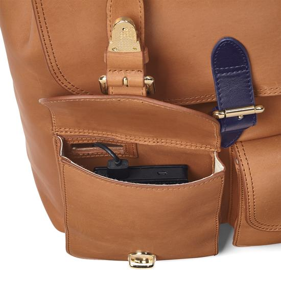 Oxford Backpack in Smooth Natural Tan & Navy from Aspinal of London