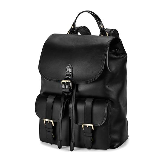 Oxford Backpack in Smooth Black & Deep Shine Black Croc from Aspinal of London