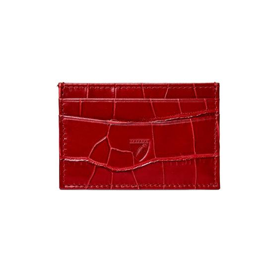Slim Credit Card Case in Deep Shine Red Croc with Cream Suede from Aspinal of London