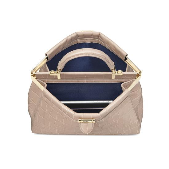 Small Florence Frame Bag in Deep Shine Soft Taupe Croc from Aspinal of London