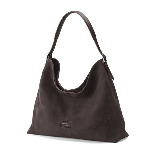 Aspinal Hobo Bag in Smokey Grey Nubuck from Aspinal of London