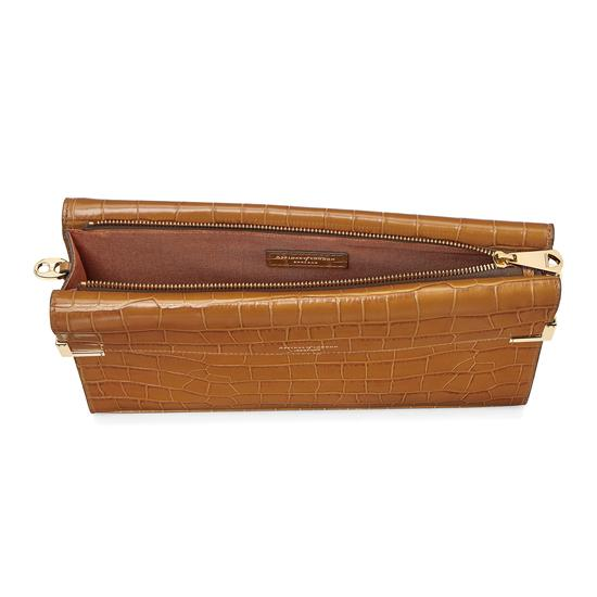 Editor's Clutch in Deep Shine Vintage Tan Croc from Aspinal of London