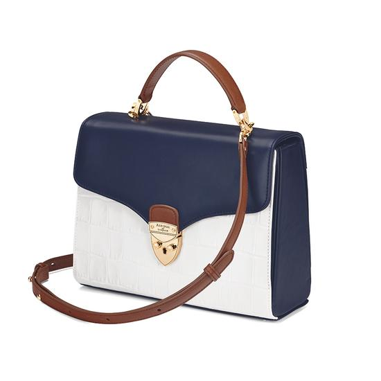 Mayfair Bag in Smooth Blue Moon & Snow White Croc Mix from Aspinal of London