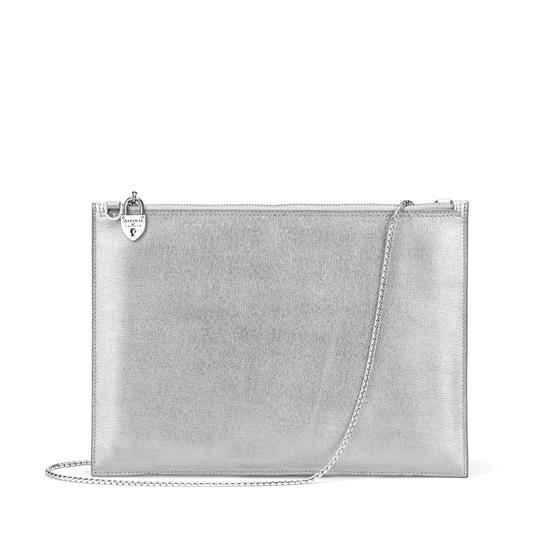 Soho Double Sided Clutch in Silver Saffiano & Smooth Alabaster White from Aspinal of London