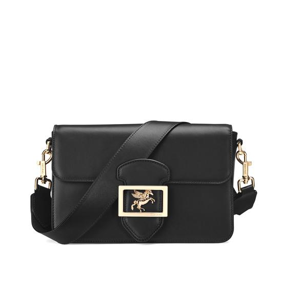 Pegasus Shoulder Bag in Smooth Black from Aspinal of London