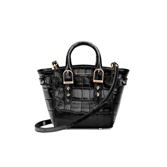 Micro Marylebone Tote in Deep Shine Black Croc from Aspinal of London