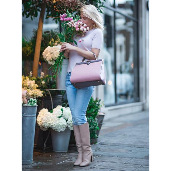 Large Florence Frame Bag in Dusky Pink, Rose Dust & Chanterelle from Aspinal of London