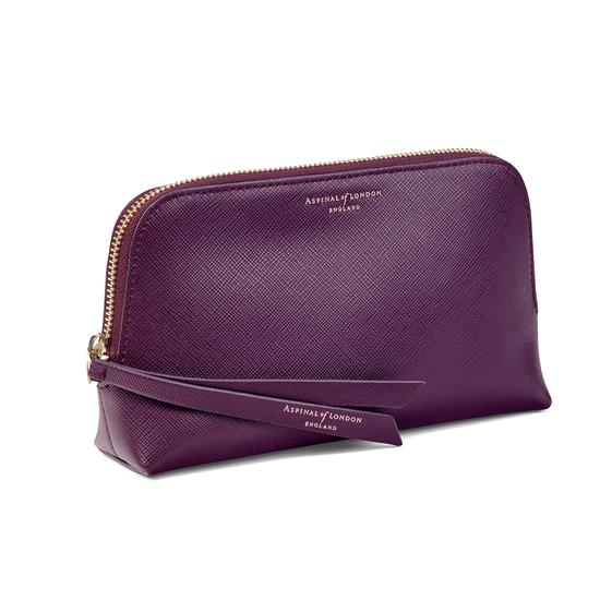 Small Essential Cosmetic Case in Grape Saffiano from Aspinal of London