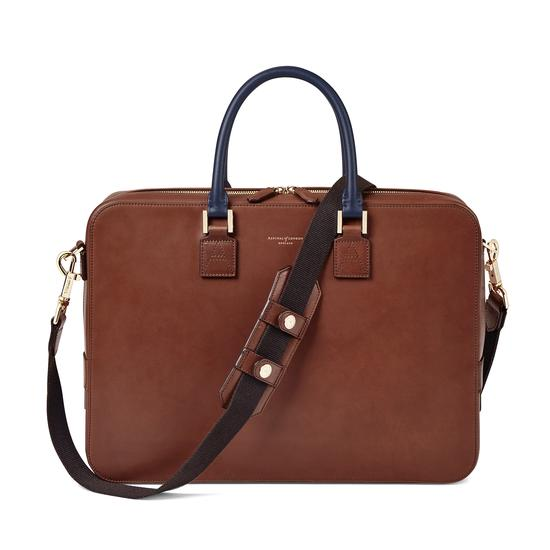 Small Mount Street Bag in Smooth Redwood with Smooth Navy Handles from Aspinal of London