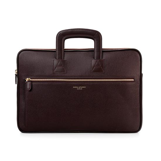 Connaught Document Case in Chocolate Brown Saffiano from Aspinal of London