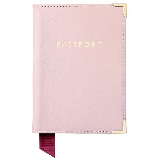 Passport Cover in Blush Pink Nappa from Aspinal of London