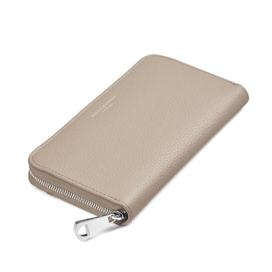 Continental Clutch Zip Wallet in Soft Taupe Pebble from Aspinal of London