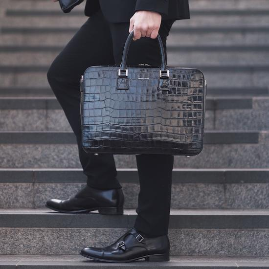 Small Mount Street Bag in Deep Shine Black Croc from Aspinal of London