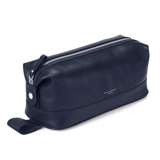 Men's Leather Wash Bag in Smooth Navy Nappa from Aspinal of London