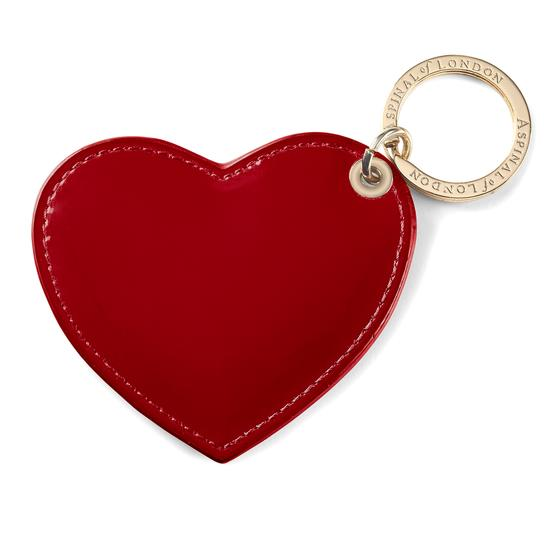 Heart Keyring in Flame Red Polish from Aspinal of London