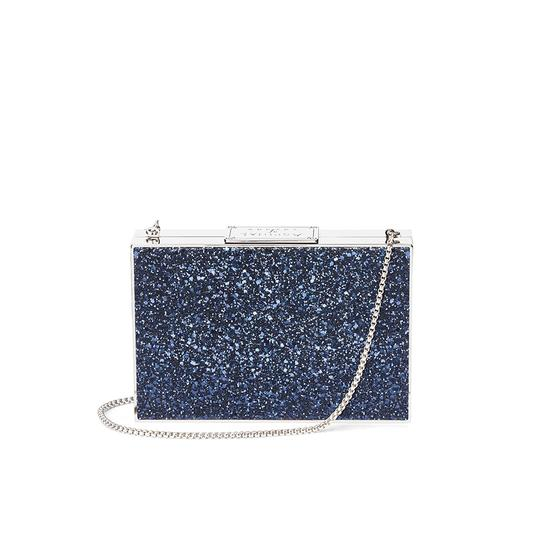 Scarlett Box Clutch in Midnight Blue & Silver Shooting Star Glitter from Aspinal of London