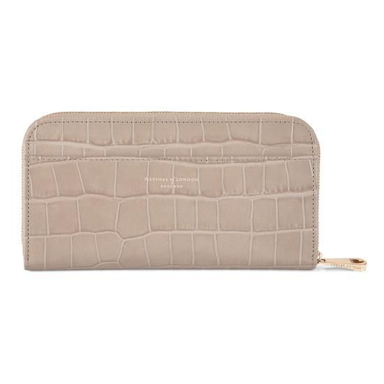 Continental Clutch Zip Wallet in Deep Shine Soft Taupe Croc from Aspinal of London