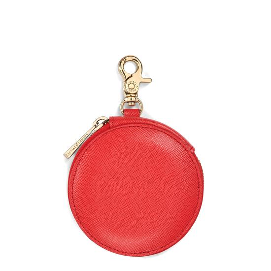 Round Coin Purse with Keyring in Dahlia Saffiano from Aspinal of London