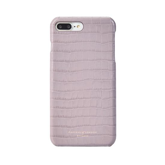 iPhone 7 Plus Leather Cover in Deep Shine Lilac Small Croc from Aspinal of London