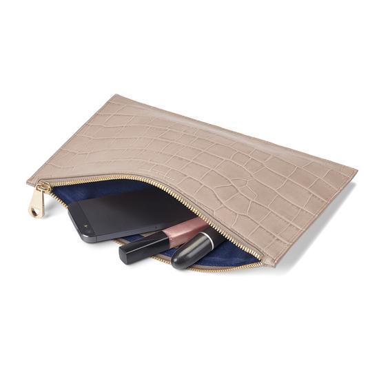 Large Essential Flat Pouch in Deep Shine Soft Taupe Croc from Aspinal of London