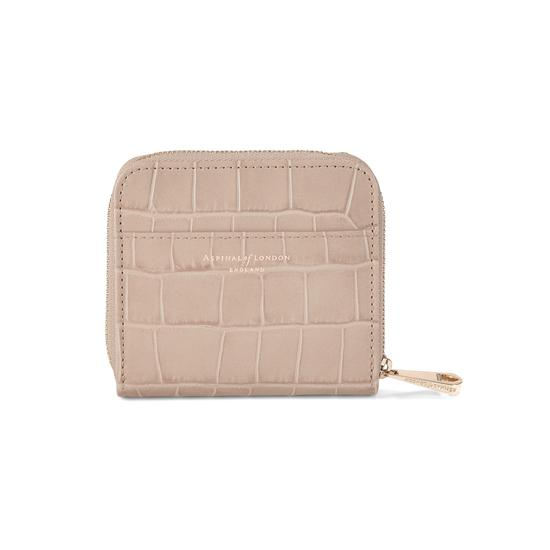 Mini Continental Zipped Coin Purse in Deep Shine Soft Taupe Croc from Aspinal of London