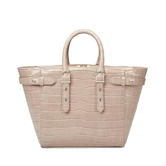 Midi Marylebone Tech Tote in Deep Shine Soft Taupe Croc from Aspinal of London
