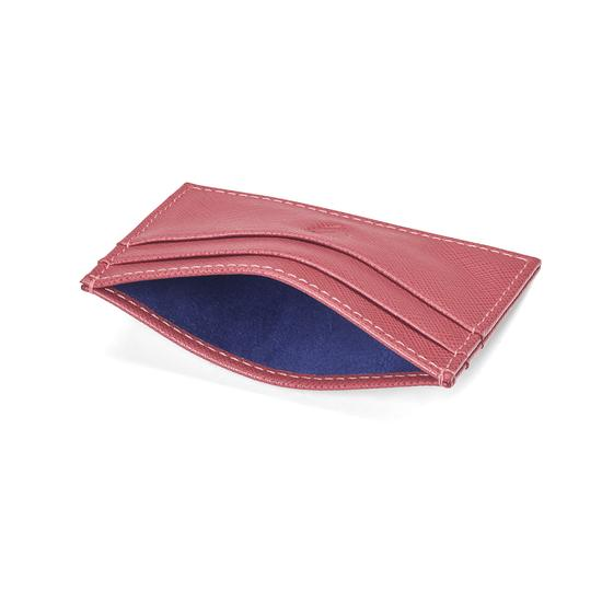 Slim Credit Card Case in Blusher Saffiano & Navy Suede from Aspinal of London