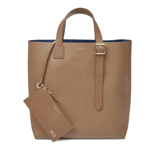 The 'A' Tote in Camel Saffiano from Aspinal of London