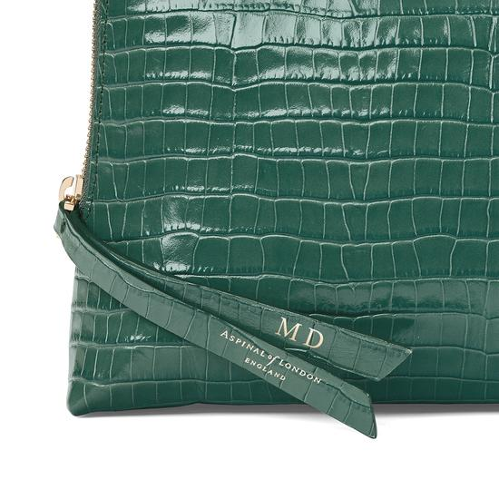 Large Essential Cosmetic Case in Deep Shine Sage Small Croc from Aspinal of London