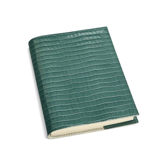A5 Refillable Leather Journal in Deep Shine Sage Small Croc from Aspinal of London