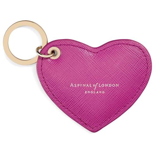 Heart Keyring in Deep Shine Orchid Saffiano from Aspinal of London