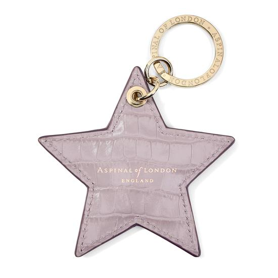 Star Keyring in Deep Shine Lilac Small Croc from Aspinal of London