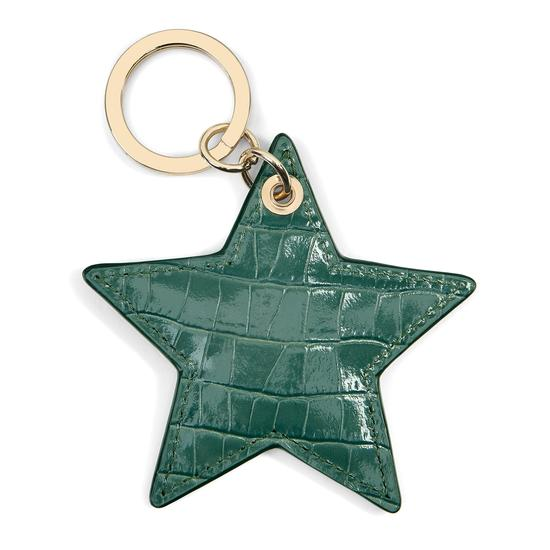 Star Keyring in Deep Shine Sage Small Croc from Aspinal of London