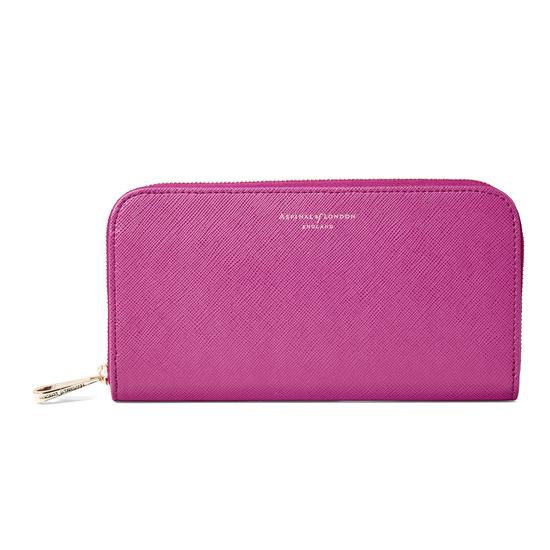 Continental Clutch Zip Wallet in Orchid Saffiano from Aspinal of London