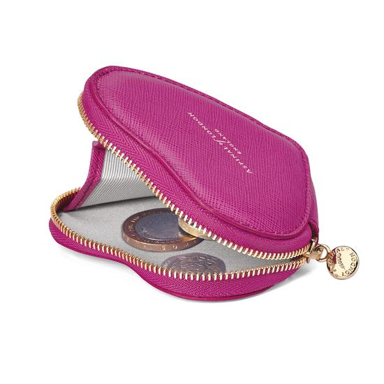 Heart Coin Purse in Orchid Saffiano from Aspinal of London