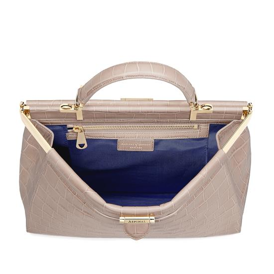 Large Florence Frame Bag in Deep Shine Soft Taupe Croc from Aspinal of London