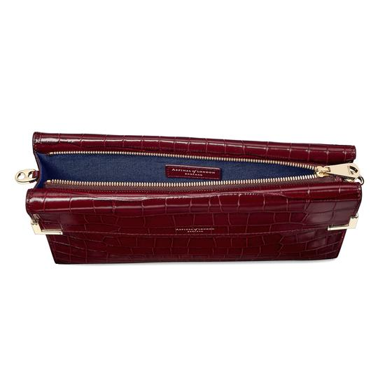 Editor's Clutch in Deep Shine Bordeaux Croc from Aspinal of London