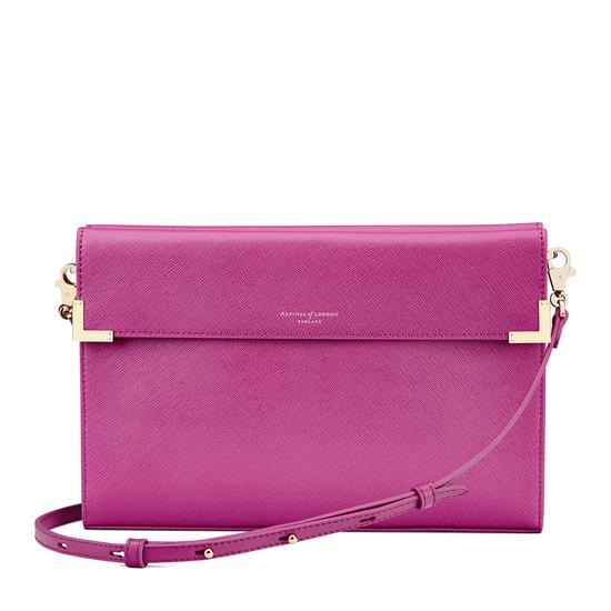 Editor's Clutch in Orchid Saffiano from Aspinal of London