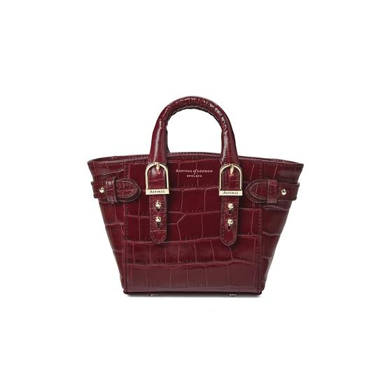 Micro Marylebone Tote in Deep Shine Bordeaux Croc from Aspinal of London