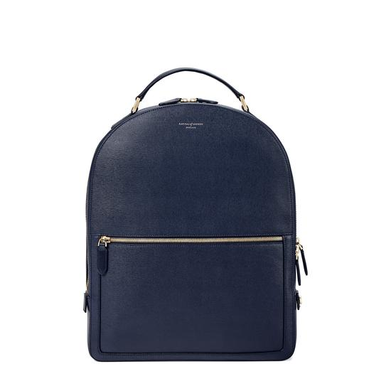 Large Mount Street Backpack in Navy Saffiano from Aspinal of London