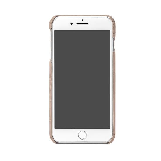 iPhone 7 Plus Leather Cover in Deep Shine Soft Taupe Croc from Aspinal of London