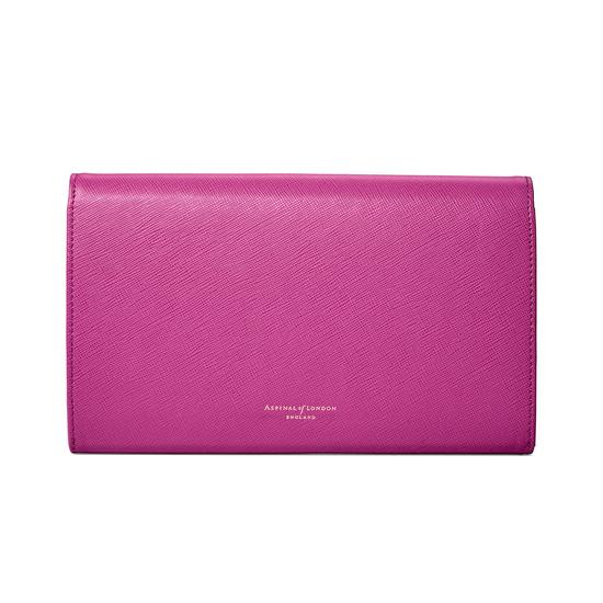 Classic Travel Wallet in Orchid Saffiano from Aspinal of London