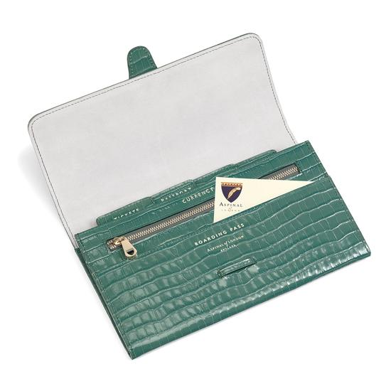 Classic Travel Wallet in Deep Shine Sage Small Croc from Aspinal of London