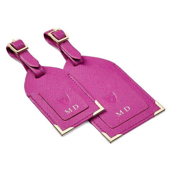 Set of 2 Luggage Tags in Orchid Saffiano from Aspinal of London