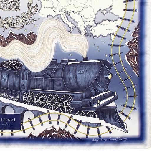 Murder on the Orient Express Silk Scarf in Midnight Blue (35