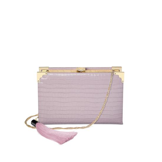 Book Clutch in Deep Shine Lilac Small Croc from Aspinal of London